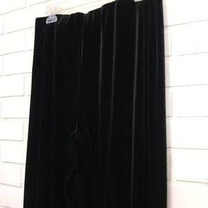Black Velvet Velour Stretch Wide Leg Pants